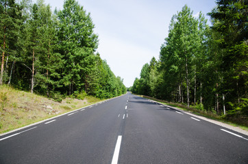 New asphalt and lines at a straight road in the forest