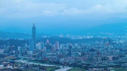 Time lapse of Taipei, Taiwan evening skyline.