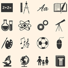 Vector Set of  School Subjects Icons.