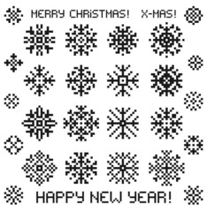 Christmas vector snowflakes designs in pixel style.