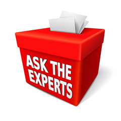 the word ask the experts on the red box