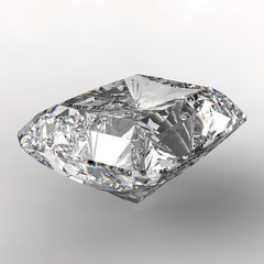 3d Square cut diamond on white