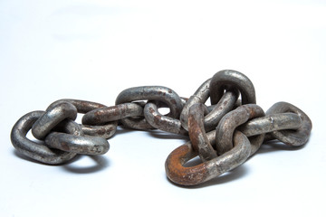 Old steel chain is isolate on white background