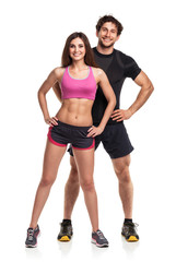 Athletic  man and woman after fitness exercise on the white back