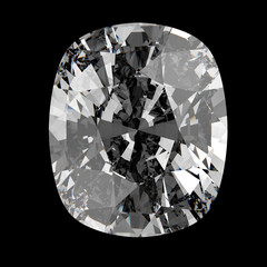 Oval cut diamond, isolated on dark background