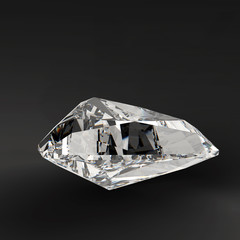3d triangle cut diamond on dark background