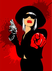 Lady in red gloves