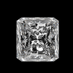3d Square cut diamond on black background