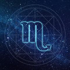 Scorpio zodiac sign with Milky way galaxy background