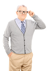 Senior gentleman trying on a new pair of glasses