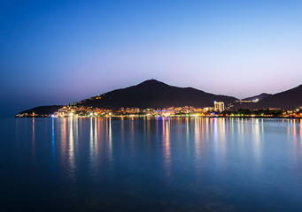 Coastline of illuminated Budva