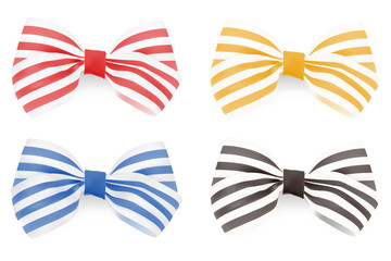 Set of Striped bows. Vector illustration