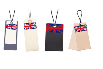 Set of Blank price tags with flag of UK. Photo realistic illustr
