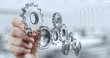 Leinwanddruck Bild - businessman hand draws gear to success