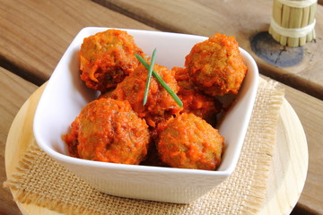Meatballs in tomato sauce Spanish tapa