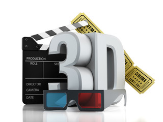 3D text, glasses, clapboard and cinema tickets
