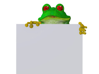 A cute cartoon frog holding a blank sign