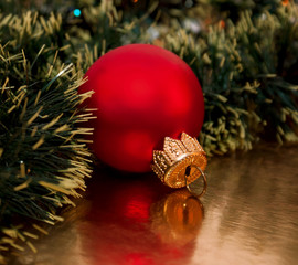 Beautiful Christmas's ball on the golden background