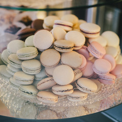 Pastel colored macarones on a plate