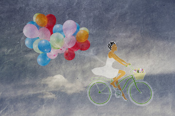 girl on a bicycle with a basket of flowers