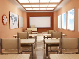 Classroom with empty seats