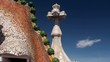 Types of Casa Batlló. Roof's tower & the cross. Barcelona