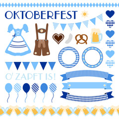 Octoberfest Symbols Set Blue