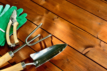 Close-up gardening tools on old wooden background with copyspace