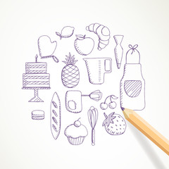 Vector Illustration of Hand Drawn Bakery Elements