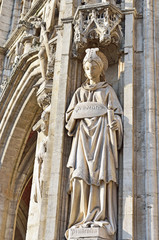 statue of Prudence on medieval facade of City Hall