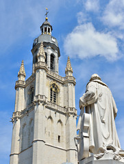 Basilica and statue Adrien Francois Servais in Halle