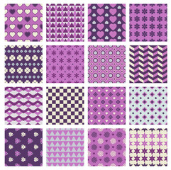 vector patterns with flowers and hearts
