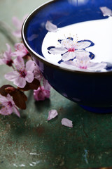 spring flowers in blue bowl