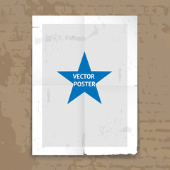Grunge tattered folded poster template