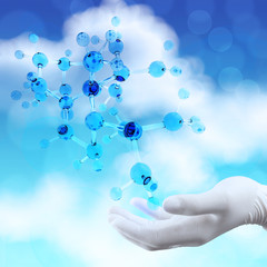 scientist doctor hand holds virtual 3d  molecular structure in t