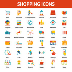 Colored Shopping Icons