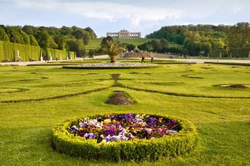 Schonbrunn gardens and Gloriette pavilion in Vienna