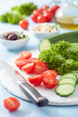 ingredients for salad with tomatoes cucumber olives and feta che