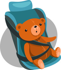 Illustration of Teddy bears in a child car seat