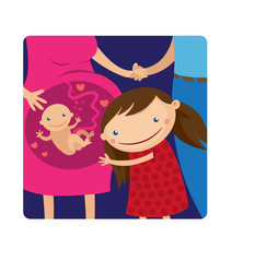 Illustration of happy kid girl hugging pregnant mother's belly