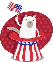Illustration of a grumpy cat sitting in Uncle Sam hat.