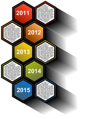 Vector infographic timeline report with colored hexagons
