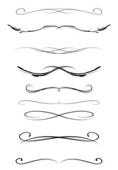 set of calligraphic lines dividers, vector