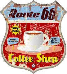 retro route 66 coffee shop sign, vector eps 10