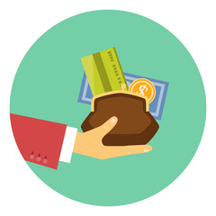 Hand giving money - concept of a credit or loan