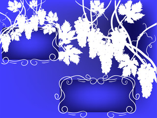 white vine silhouettes on blue background