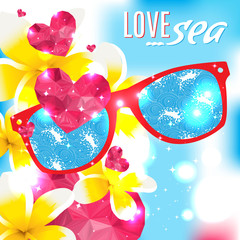 Love and the sea vector summer light illustration