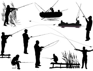 collection of black fishermen silhouettes isolated on white