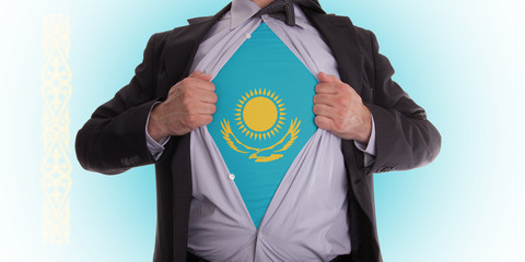 Business man with Kazakhstan flag t-shirt