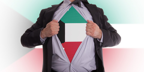 Business man with Kuwait flag t-shirt